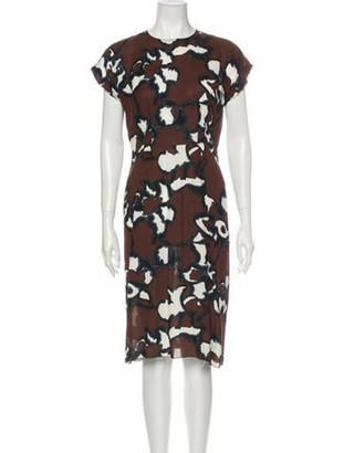 Marni Floral Print Midi Length Dress Brown