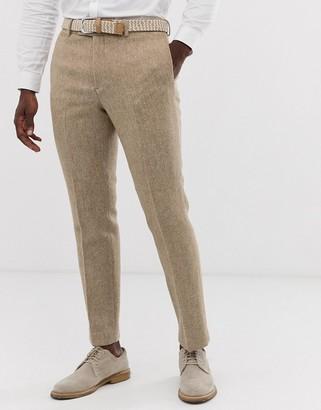 ASOS DESIGN wedding slim suit trousers in 100% wool Harris Tweed in camel