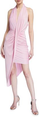 Misha Collection Priya Jersey Halter Dress w/ Asymmetric Hem