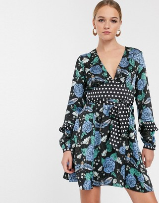 Glamorous tea dress with tie waist in floral polka dot mix