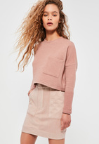 Missguided Nude Faux Suede Quilted Pocket Stud Detail Mini Skirt