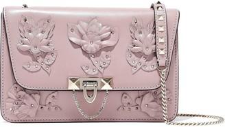 Valentino Floral-appliqued Leather Shoulder Bag