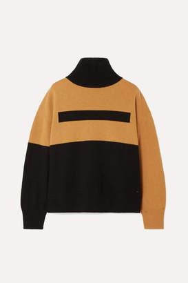 Akris Color-block Cashmere Turtleneck Sweater - Black