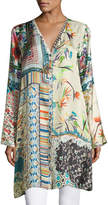 Johnny Was Silverette Long Silk Button-Front Cardigan