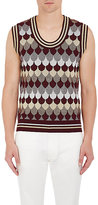 Gucci Men's Wave-Pattern Wool-Blend Sweater Vest-BURGUNDY