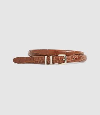 Reiss Lauren - Leather Skinny Belt in Tan