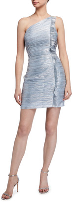 Aidan Mattox Spaghetti-Strap One-Shoulder Twist Metallic Dress