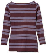 L.L. Bean Signature Cotton/Modal Top, Three-Quarter-Sleeve Boatneck Double-Bar Stripe