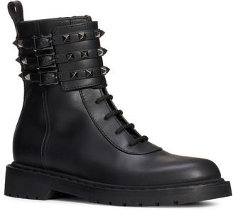 Valentino Rockstud Buckle Combat Boot