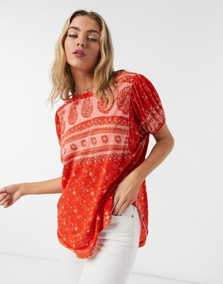 Free People Paisley jersey t-shirt in red multi