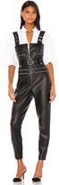 Weworewhat WeWoreWhat Moto Vegan Leather Overalls