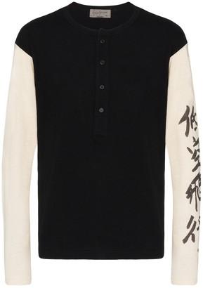 Yohji Yamamoto Henley message long sleeve T-shirt