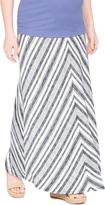 Motherhood Fold Over Belly Printed Maternity Maxi Skirt