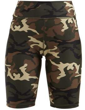 The Upside Camouflage Print Performance Shorts - Womens - Green Multi