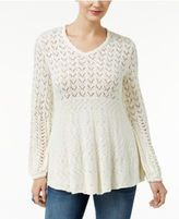 Style&Co. Style & Co Petite Pointelle Babydoll Sweater, Only at Macy's
