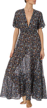 Stella McCartney Pebble-Print Cutout Long Coverup Dress