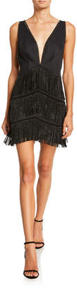 SHO Beaded Fringe Deep V-Neck Sleeveless Mini Cocktail Dress