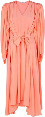 Givenchy Salmon cape-effect silk midi dress