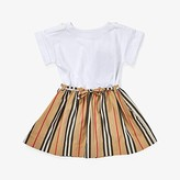 Burberry Rhonda Stripe Dress (Infant/Toddler) (White) Girl's Clothing