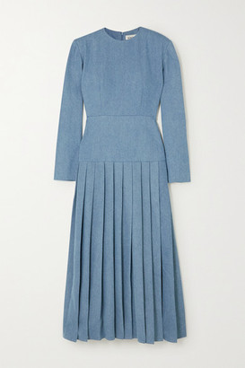ROWEN ROSE Pleated Denim Maxi Dress - Blue