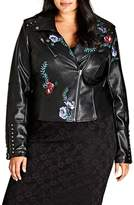 City Chic Embroidered Rose Faux Leather Biker Jacket