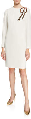 Trina Turk Crepe Long-Sleeve Shift Dress w/ Sequin Bow Detail