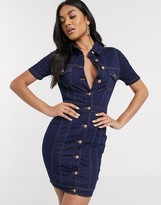 Parisian denim button through shirt dress
