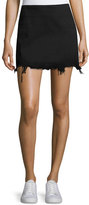 Alexander Wang Faded Denim Zip-Back Mini Skirt, Black