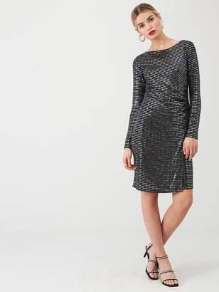 Wallis Sparkle Ruched Side Dress - Silver
