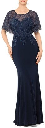 Xscape Evenings Embroidered and Bead Embellished Trumpet Evening Gown