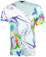 Jenny Collicott Unisex Blue Elephant Textured Printed T Shirt Tee