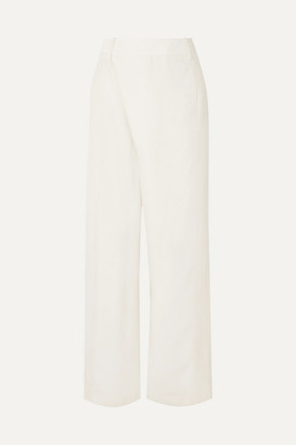 3.1 Phillip Lim Wrap-effect Sateen Wide-leg Pants - Cream