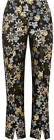 Erdem Syrah Cropped Floral-jacquard Slim-leg Pants - Black