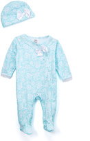 Baby Essentials Aqua Floral Footie & Beanie - Infant