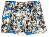 Milly Minis Pleated Peony Shorts, Cobalt, Size 4-7