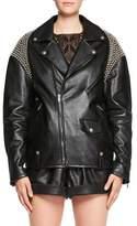 Saint Laurent Zip-Front Oversized Moto Leather Jacket with Shoulder Studs