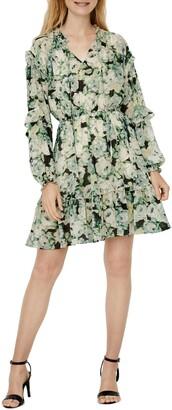 Vero Moda Cleo Tie Neck Ruffle Long Sleeve Minidress