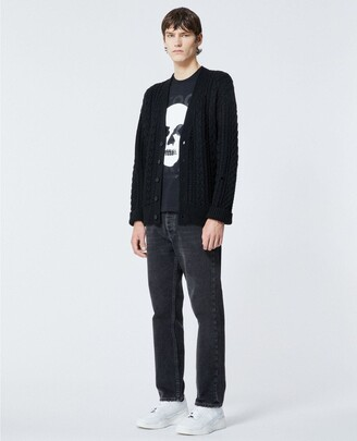 The Kooples Black cardigan in wool with cable detail