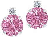 Gem Stone King 1.76 Ct Pink 14k White Gold Earrings Made With Swarovski Zirconia