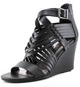 Kenneth Cole Reaction Avatude Women Open Toe Synthetic Black Wedge Sandal.
