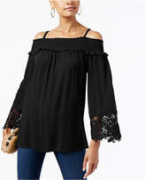 INC International Concepts Petite Lace-Trim Cold-Shoulder Top, Created for Macy's
