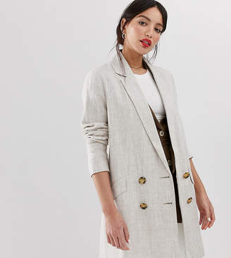 Asos Tall DESIGN Tall linen coat with contrast buttons-Stone