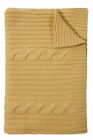 The Well Appointed House 100% Cashmere Heavy Knit Cable Throw in Yellow