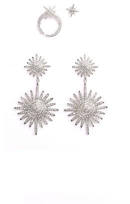 Eye Candy La Luxe Celestial 2-Pair Silvertone Crystal Earrings Set