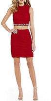 Jodi Kristopher Lace Mock Neck Two-Piece Sheath Dress