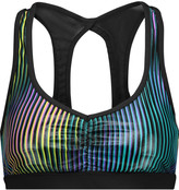 Koral Power Play mesh-paneled striped stretch-jersey sports bra