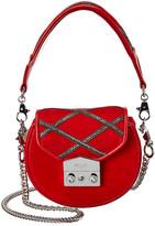 Salar Milano Carol Strass Suede & Leather Shoulder Bag