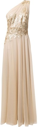 Tadashi Shoji One-Shoulder Tulle Gown