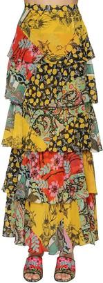 Etro Printed Ruffle Silk Georgette Long Skirt