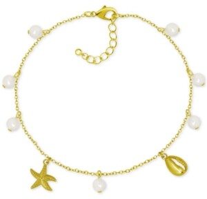 Kona Bay Shell & Imitation Pearl Charm Ankle Bracelet in Gold-Plate